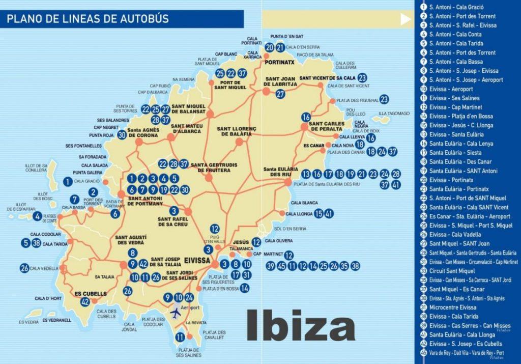 Карта автобусов на острове Ибица / Ивиса