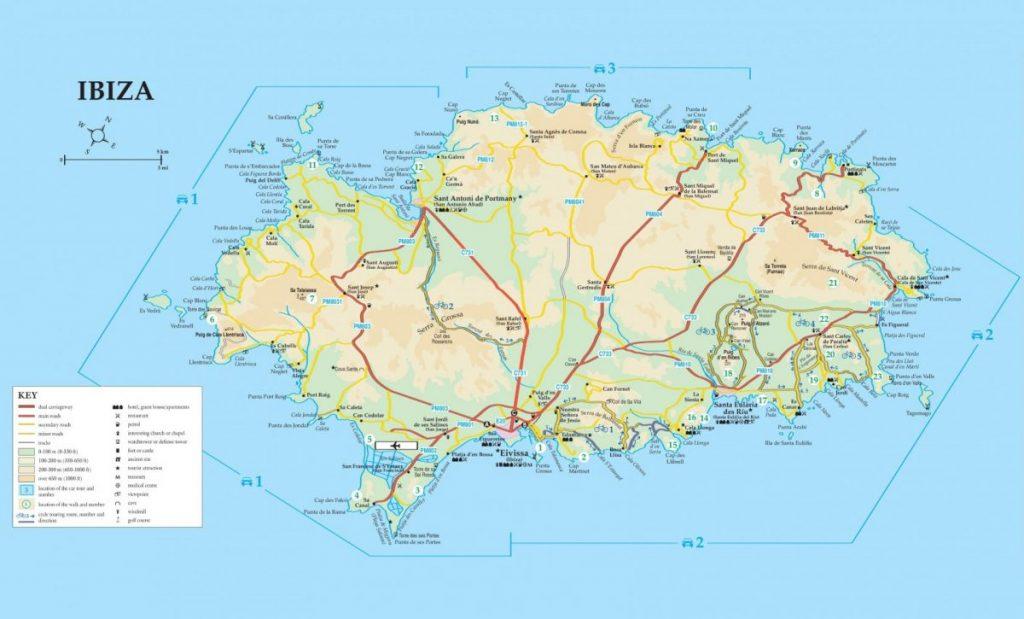 Карта дорог острова Ибица / Ивиса
