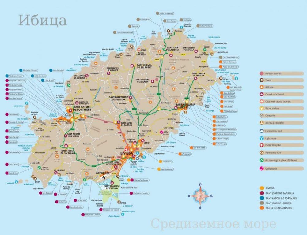 Карта острова Ибица / Ивиса - Балеарские острова, Испания