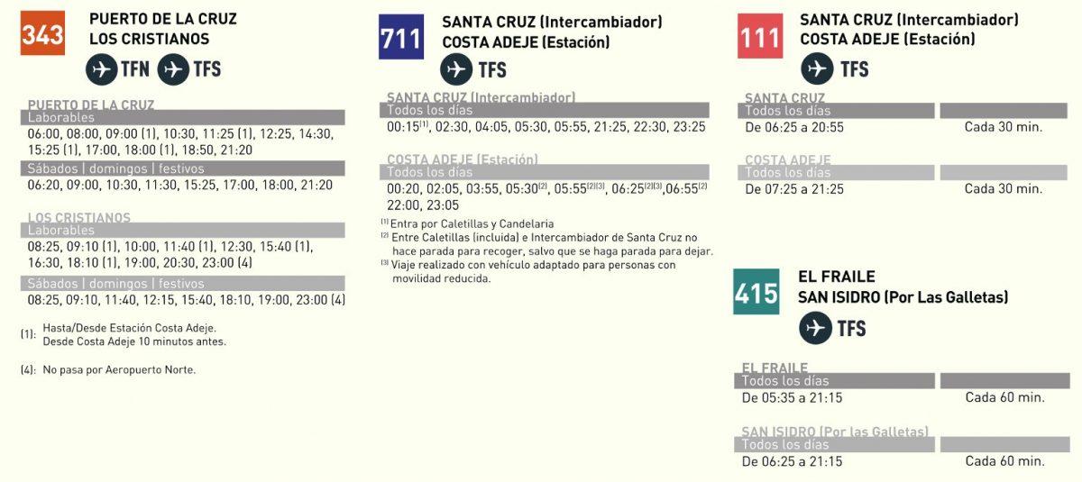 Расписание автобусов из Аэропорт Южный Тенерифе