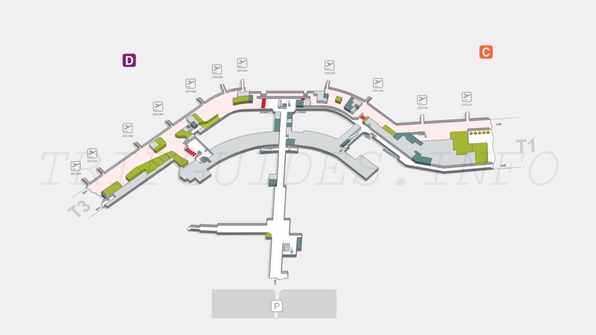 Схема аэропорта Мадрид Барахас Испания - терминал T2