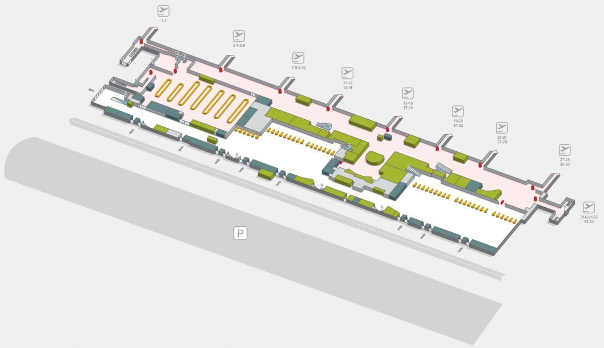 План схема аэропорт Тенерифе Южный Испания - Терминал 0