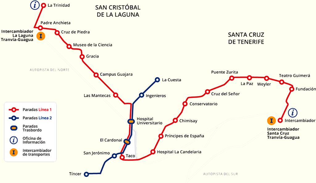 Маршрут трамваев в Санта-Крус-де-Тенерифе