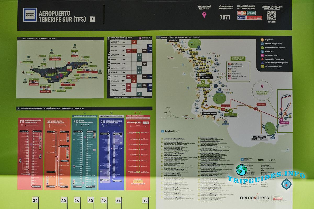 Расписание автобусов в аэропорту Тенерифе-Южный