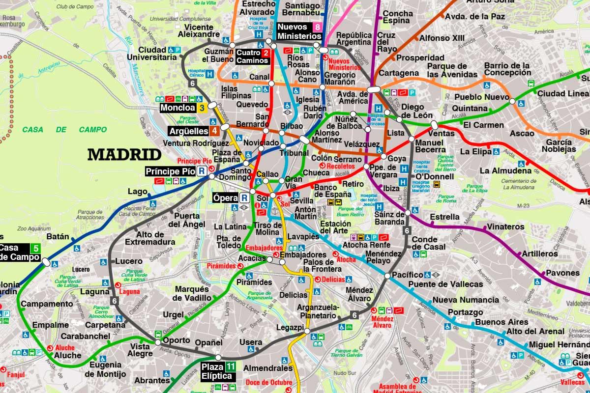 Карта метро Мадрида с картографической базой наглядно по районам