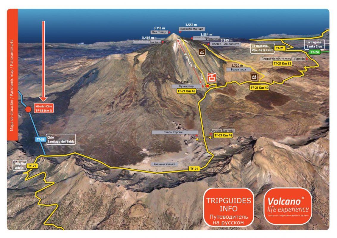 Карта вулкана Тейде - Тенерифе