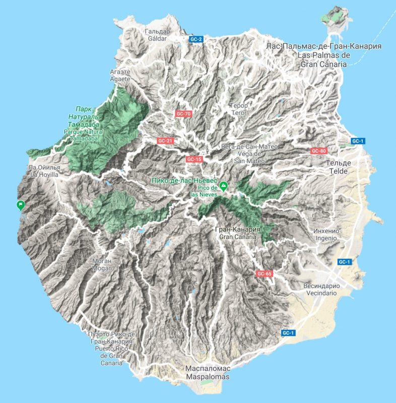 Рельеф острова Гран-Канарии на карте