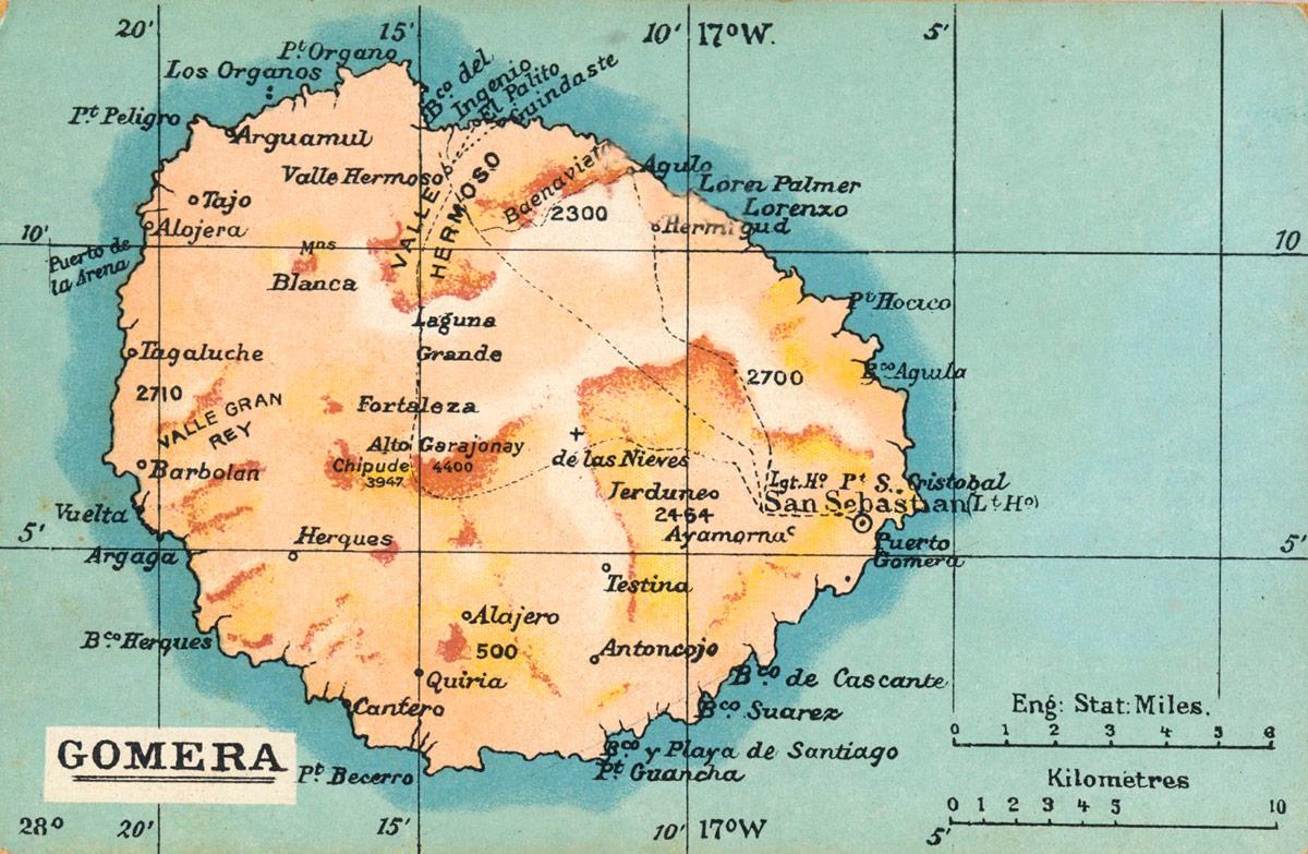Древняя карта острова Ла Гомера