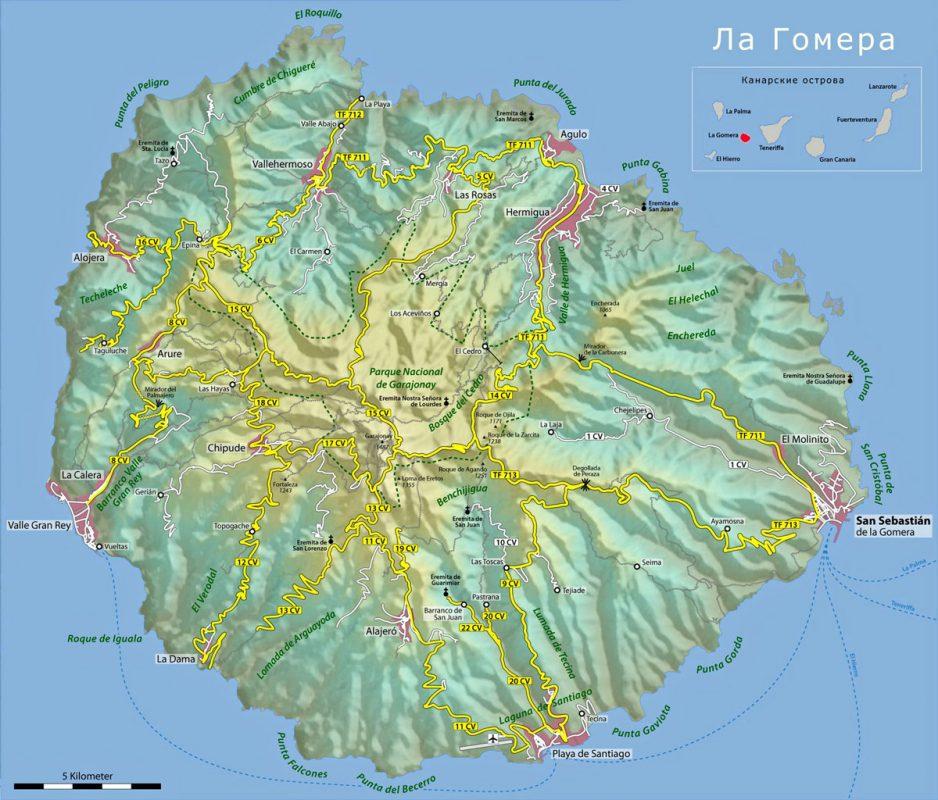 Карта с рельефом острова Ла Гомера