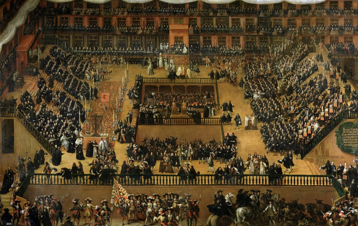 Аутодафе - акт веры (религиозная церемония) в 1680 году на Пласа-Майор