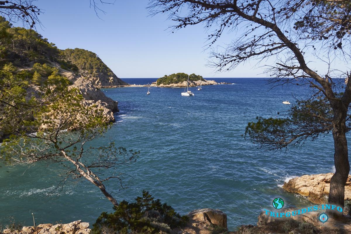 Пляж Кала-де-Са-Феррадура Порт-де-Сан-Мигель на Ибице - Балеарские острова, Испания