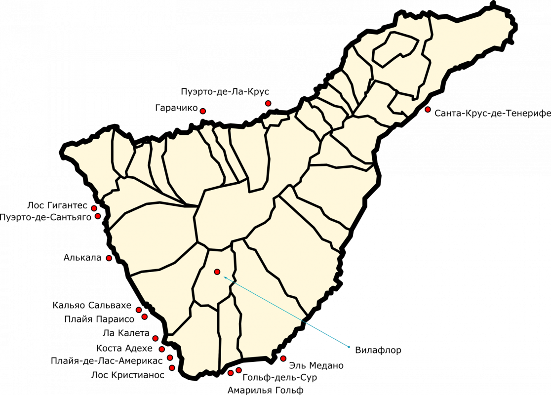 Карта городов и курортов Тенерифе