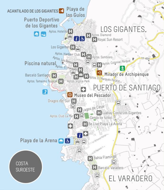 Карта Пуэрто-де-Сантьяго на Тенерифе