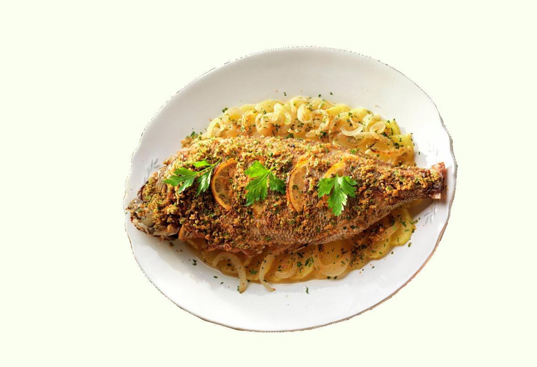 Кухня Мадрида - Запеченный морской лещ - Besugo a la madrileña