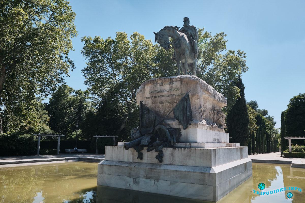 Памятник генералу Мартинесу Кампосу в парке Буэн-Ретиро в Мадриде - Испания (Parque del Buen Retiro)
