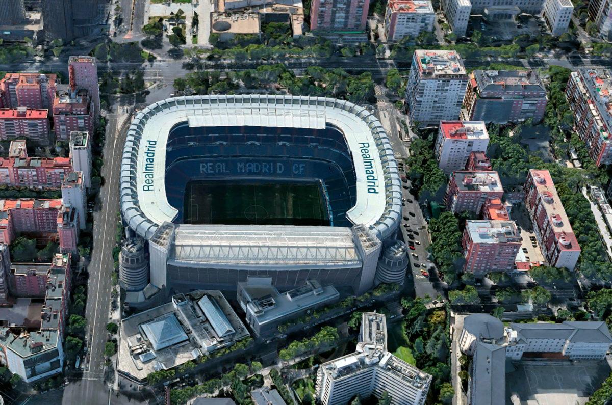 Стадион «Сантьяго Бернабеу» в Мадриде, столице Испании