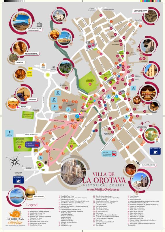 Туристическая карта города Ла-Оротава на Тенерифе - Канарские острова, Испания