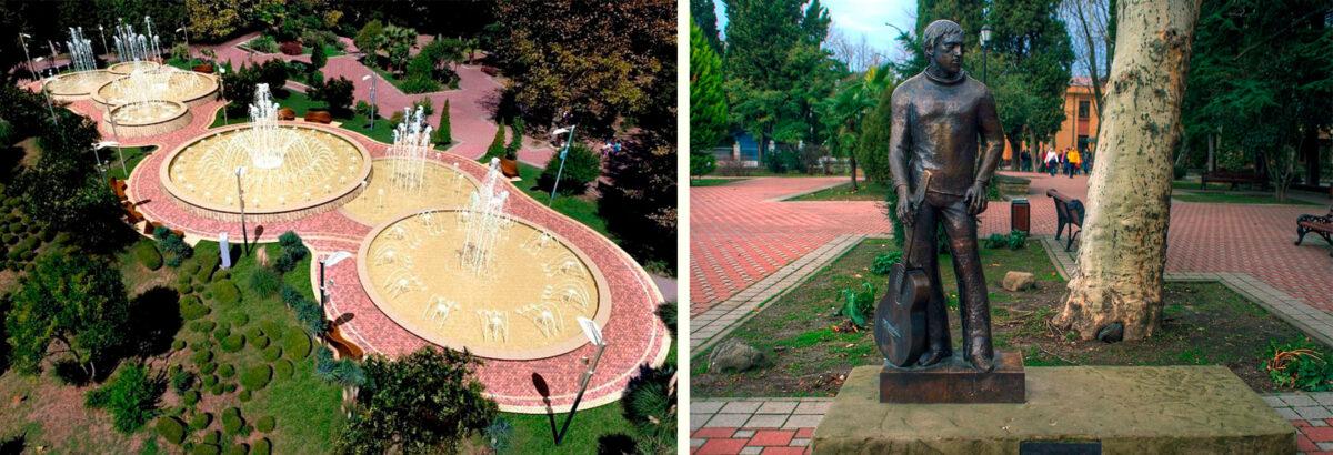 Каскадный фонтанный комплекс и Памятник Владимиру Высоцкому в Сочи