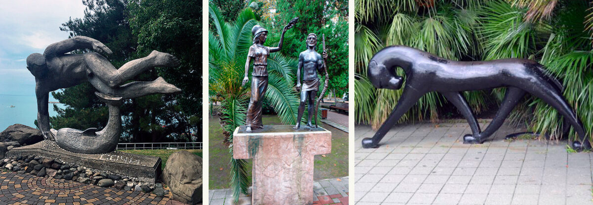 Памятники «Пловец с дельфином», «Чёрная пантера», «Афина, водружающая венок на голову победителя» в Сочи