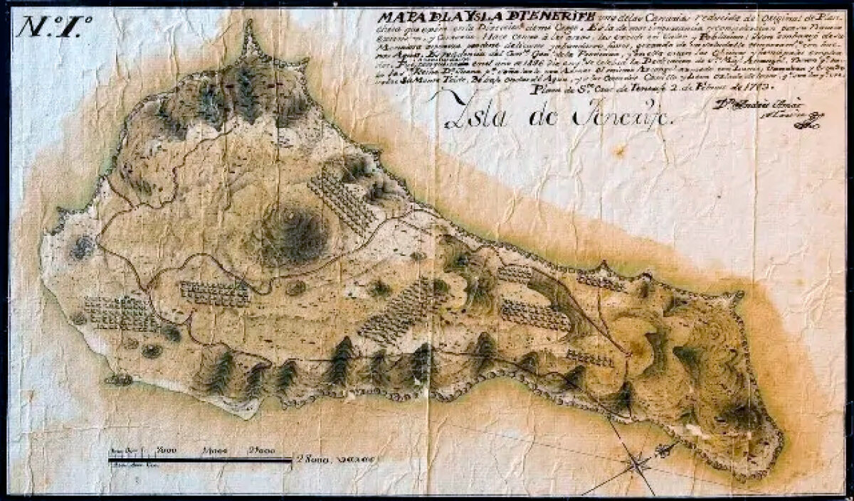Древняя карта Тенерифе - 1783 год