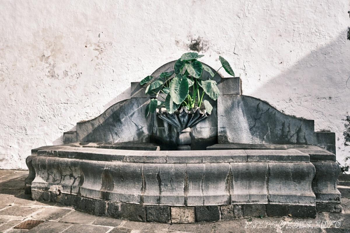 Фонтан из камня на площади Андрес де Лоренцо Касерес в Икод-де-Лос-Винос на Тенерифе в Испании